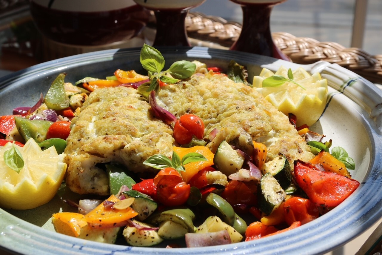 Roast Hake with Mediterranean Vegetables by Siobhán  Devereux Doyle
