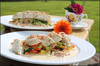 Roast Monkfish, pan-fried leek,pepper & sweetcorn with a smoked bacon cream sauce by Siobhán Devereux Doyle