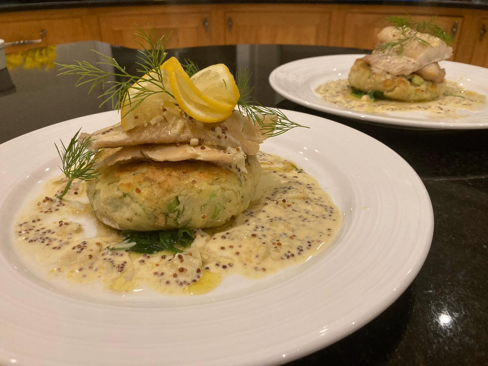 Smoked Haddock with a Dill & Spring Onion Potato Farl, Wilted Spinach and Wholegrain Mustard Cream