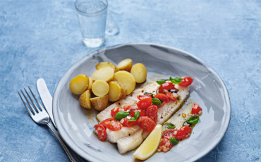 Grilled Whiting with Warm Cherry Tomato and Basil Dressing