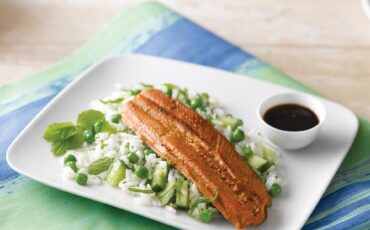 Soy and Honey Glazed Rainbow Trout with Cucumber and Mint