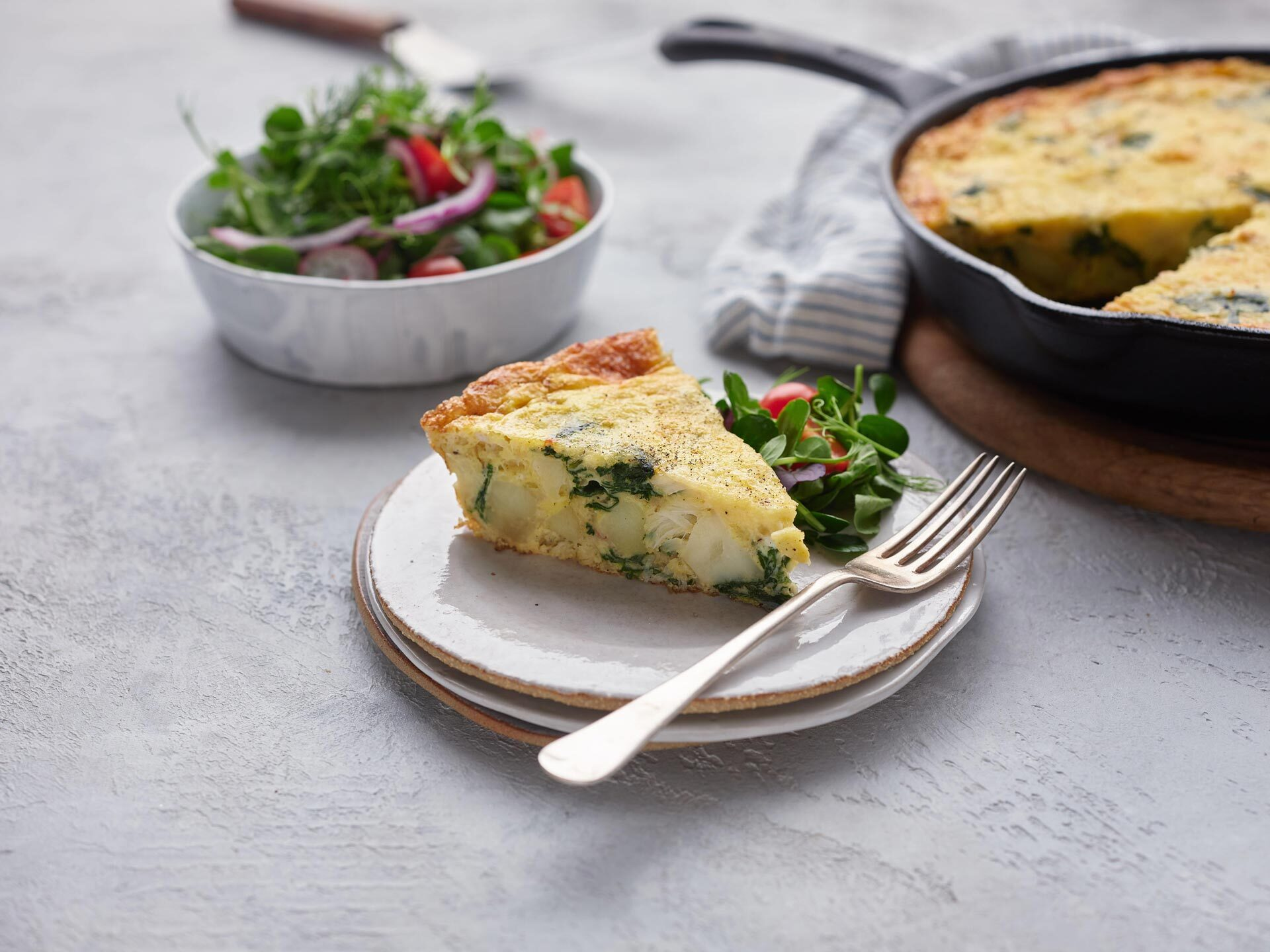 Crab, Spinach and Potato Frittata